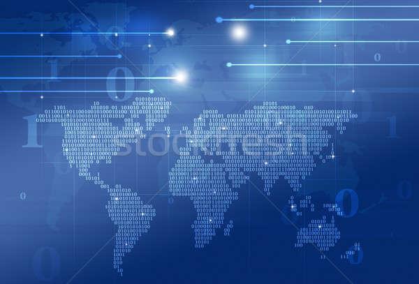 технологий двоичный код Мир карта аннотация темно синий Сток-фото © alexaldo