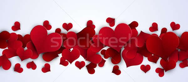 Валентин красный сердцах баннер праздник белый Сток-фото © alexaldo
