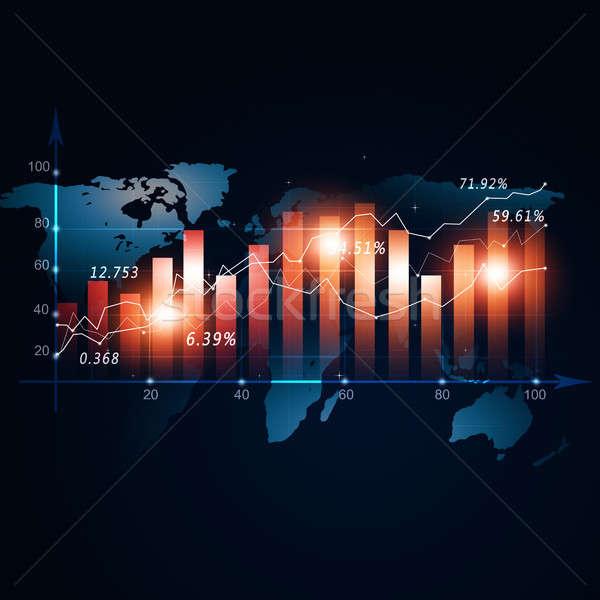 Финансы рынке графа Фондовый рынок диаграмма Мир карта Сток-фото © alexaldo