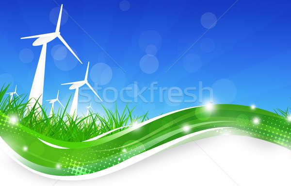 Green Power Wind Turbines Illustration Stock photo © alexaldo