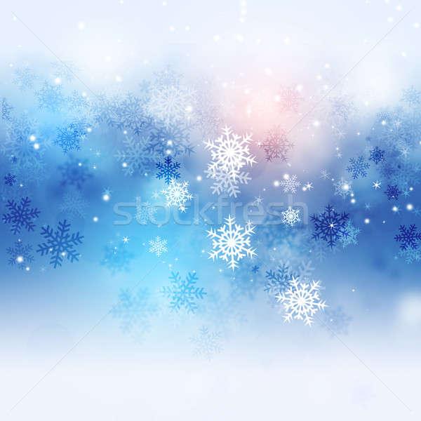 зима очаровательный снега рождество аннотация синий Сток-фото © alexaldo