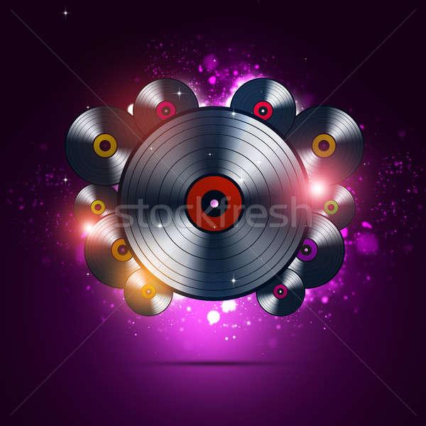 Fényes bakelit lemezek absztrakt zene buli Stock fotó © alexaldo