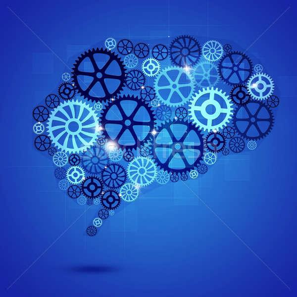 Cerebro humano forma artes azul negocios resumen Foto stock © alexaldo