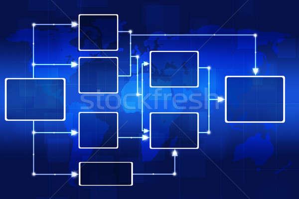 Organigramme résumé numérique carte du monde carte technologie Photo stock © alexaldo