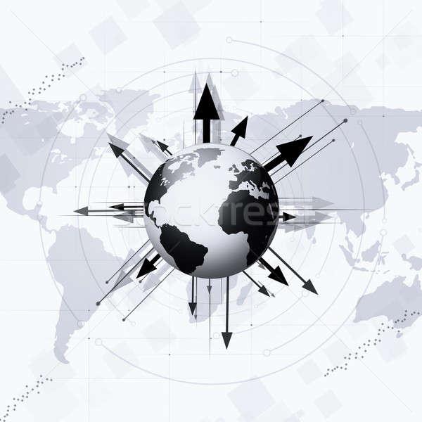 Világ földgömb nyilak körül Föld technológia Stock fotó © alexaldo