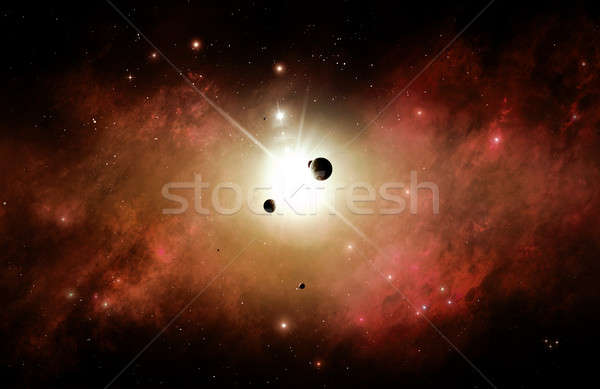 Rosso nebulosa spazio futuristico abstract illustrazione Foto d'archivio © alexaldo
