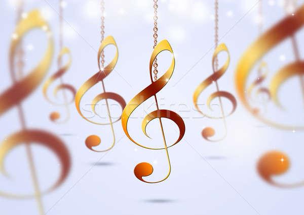 Bright Golden Music Notes Stock photo © alexaldo