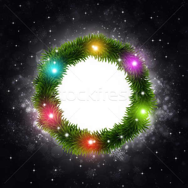 Karácsonyfa gyűrű sötét tél ünnep fény Stock fotó © alexaldo