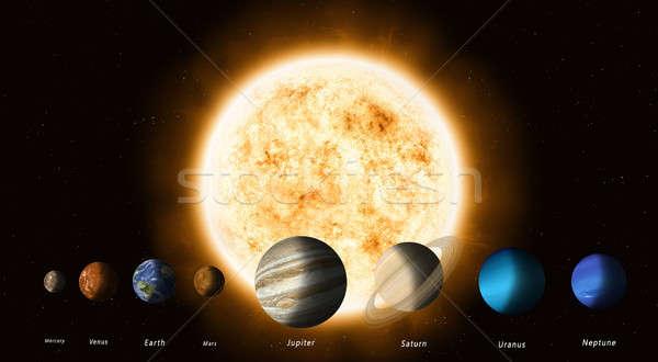Sol planetas sistema solar elementos imagem terra Foto stock © alexaldo