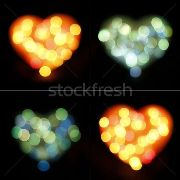 Bokeh kalp ayarlamak dört Stok fotoğraf © alexaldo