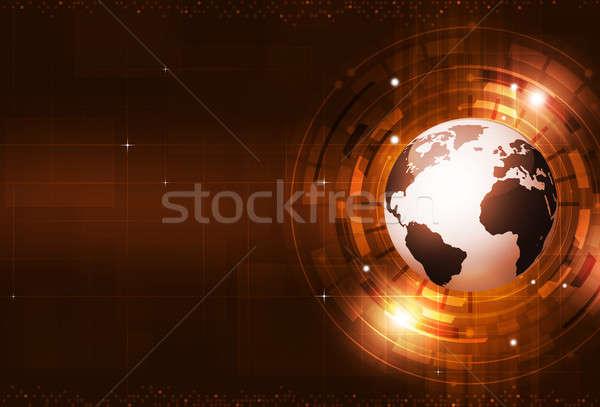 抽象的な デジタル技術 赤 技術 デジタル 世界 ストックフォト © alexaldo