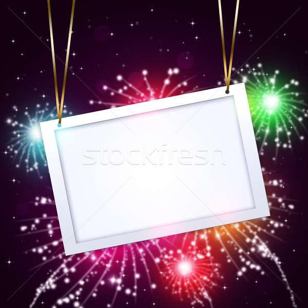 Gruß Bekanntmachung Feuerwerk Urlaub abstrakten Nacht Stock foto © alexaldo