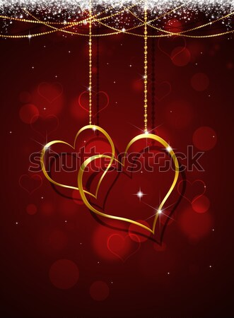 Stock photo: Golden Hearts Valentine Greeting Card