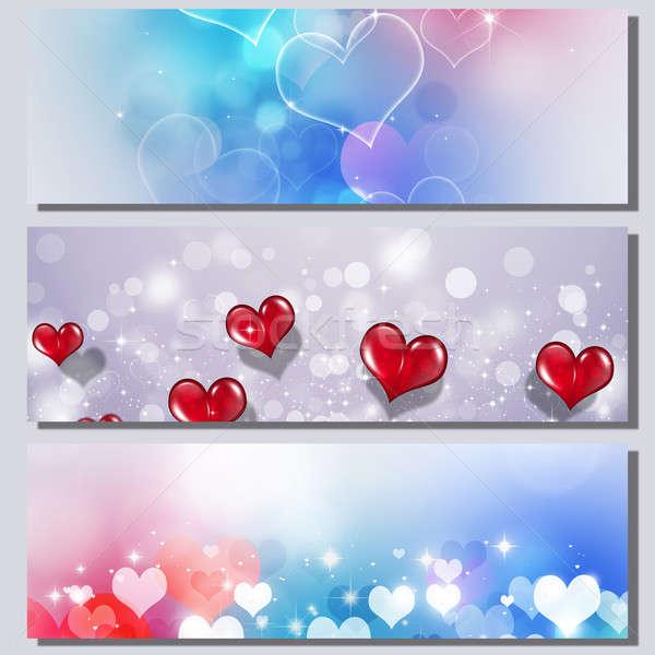 バレンタイン バナー 休日 心 ぼけ味 ライト ストックフォト © alexaldo