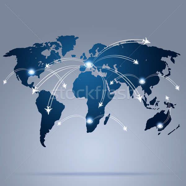 Mundo aviación mapa global negocios Foto stock © alexaldo