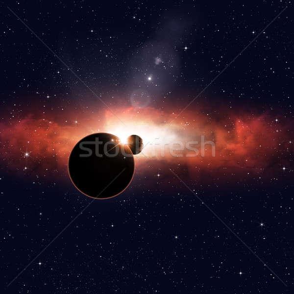 Tett űr fogyatkozás képzeletbeli mély fény Stock fotó © alexaldo
