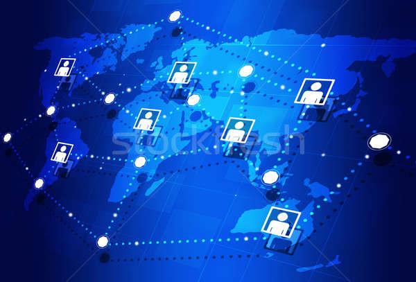 グローバル インターネット 抽象的な コミュニケーション 青 ストックフォト © alexaldo