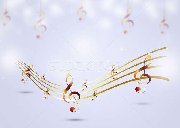 Golden Music Notes Stock photo © alexaldo