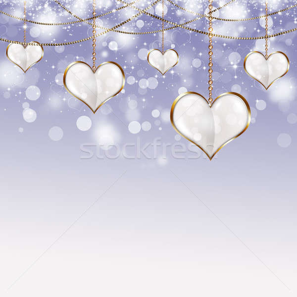 Stock photo: Valentine Golden Hearts