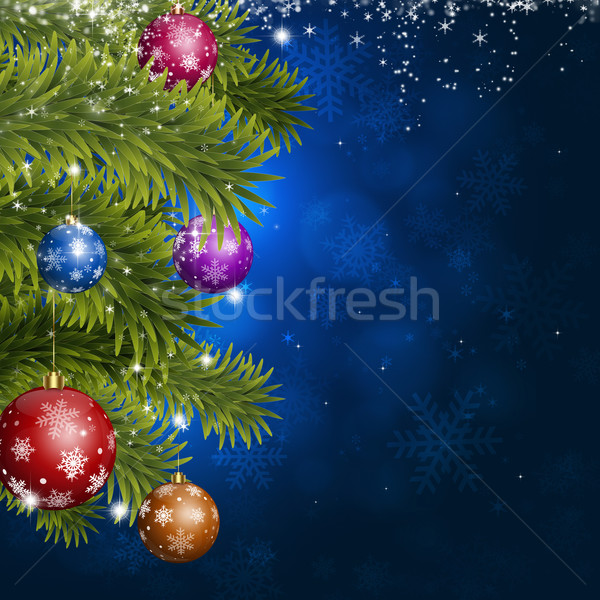 Blue Christmas Fir-tree Decoration Stock photo © alexaldo