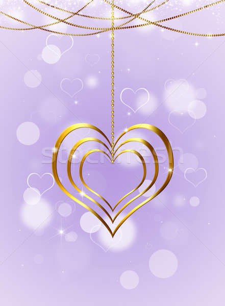 Stock photo: Golden Heart On Bright Background