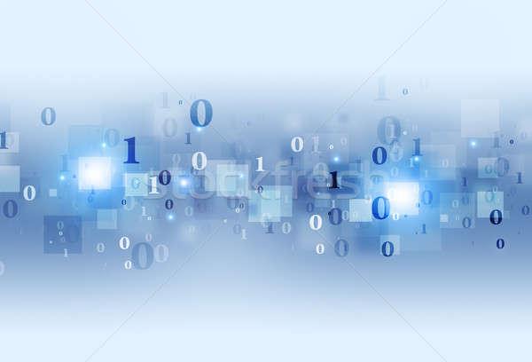 Computer binaire code Blauw bescherming technologie communicatie Stockfoto © alexaldo