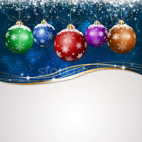 Blauw vakantie kerstmis wenskaart christmas witte Stockfoto © alexaldo