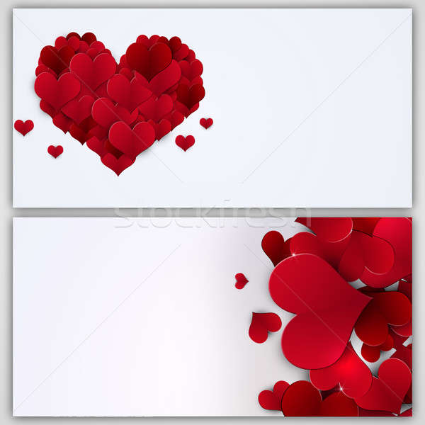 праздник Баннеры Валентин формы сердца красный Сток-фото © alexaldo