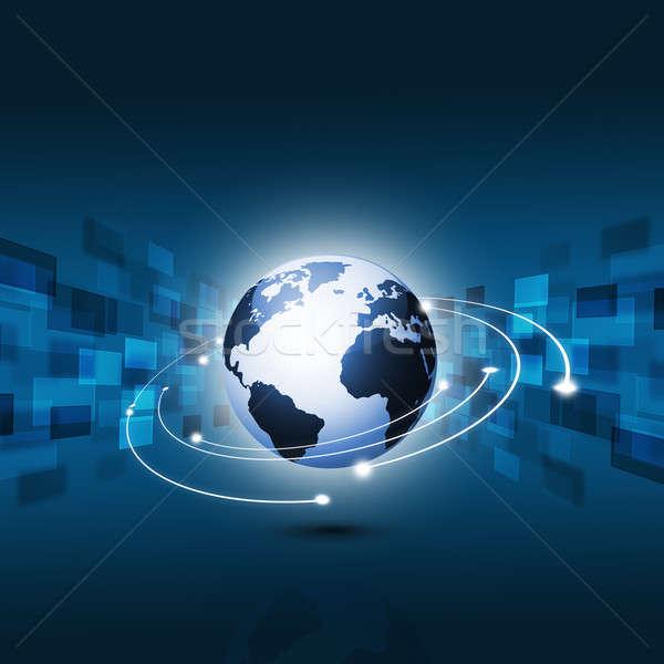 Teknoloji web soyut mavi dünya Stok fotoğraf © alexaldo