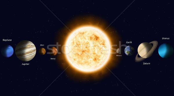 Sun with Solar System Planets Stock photo © alexaldo