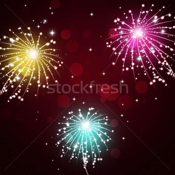 Célébration feux d'artifice montrent lumineuses pyrotechnie nuit Photo stock © alexaldo