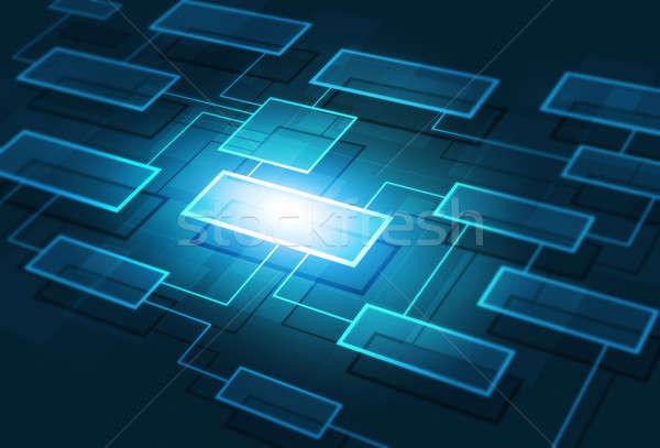 Negócio fluxograma abstrato comunicação teia azul Foto stock © alexaldo