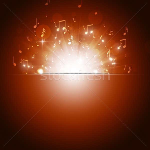 Hangjegyek robbanás sötét arany zene tánc Stock fotó © alexaldo