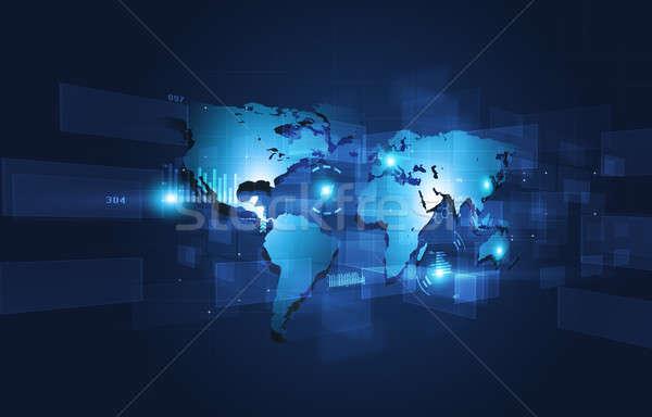 Háló absztrakt interfész technológia kapcsolatok kék Stock fotó © alexaldo