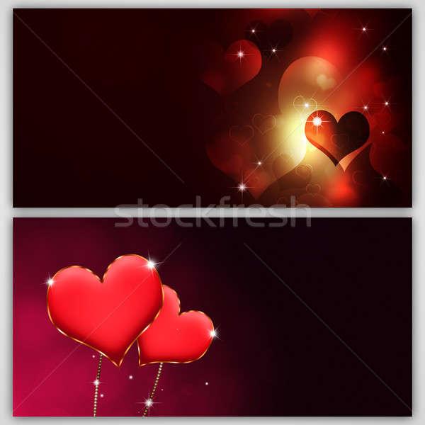Valentin nap sötét bannerek Valentin nap homályos szívek Stock fotó © alexaldo