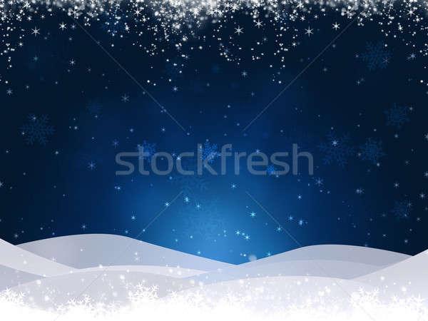 зима холмы синий аннотация Рождества снега Сток-фото © alexaldo