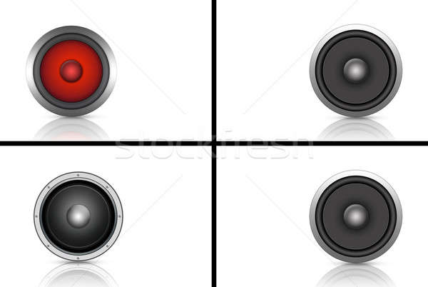 Ayarlamak dört dinamik yüksek sesle konuşmacı Stok fotoğraf © alexaldo