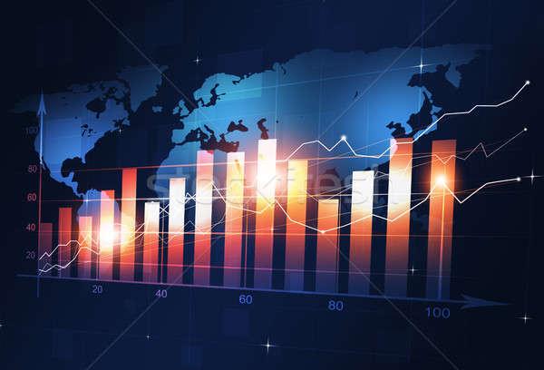 üzlet pénzügy diagram tőzsde kék térkép Stock fotó © alexaldo