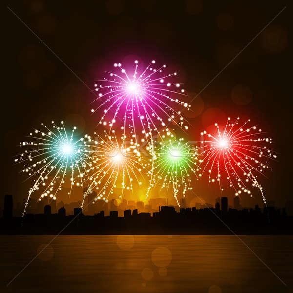 Nowy rok fajerwerków rok uroczystości Night City wody Zdjęcia stock © alexaldo