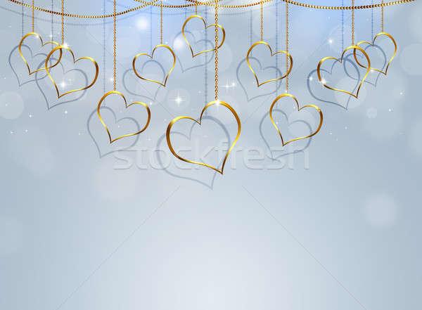 Stock photo: Golden Heart Valentine Bright Background