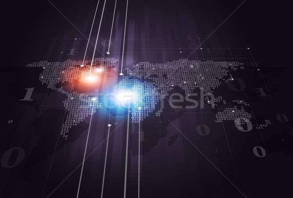 Ikili kod harita iş soyut teknoloji dünya haritası Stok fotoğraf © alexaldo