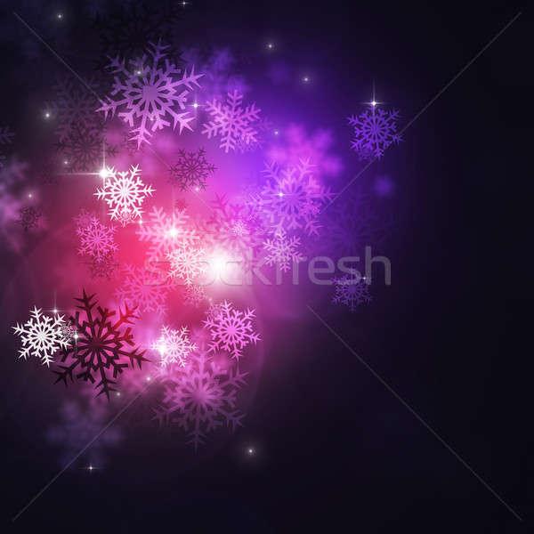 Soyut kış kırmızı kar ışıklar Stok fotoğraf © alexaldo