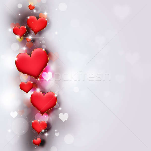 Valentin nap absztrakt Valentin nap piros szívek fényes Stock fotó © alexaldo