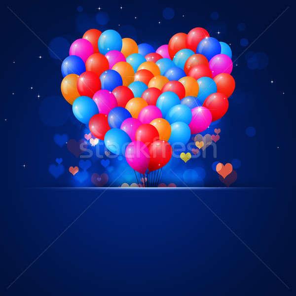 Valentin nap kék ajándékkártya valentin nap szív alak léggömbök Stock fotó © alexaldo