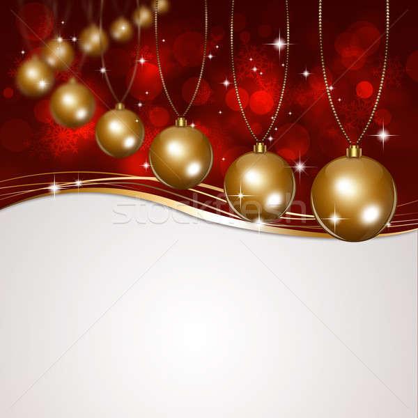 Noel altın kırmızı kış tatil Stok fotoğraf © alexaldo