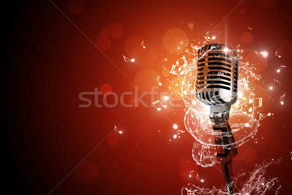Retro microphone music background Stock photo © alexaldo