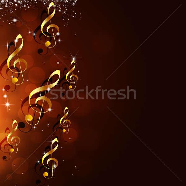 Foto stock: Brillante · notas · musicales · resumen · dorado · rojo · música