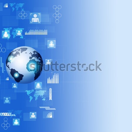 Globális üzlet kék technológia digitális absztrakt világ Stock fotó © alexaldo