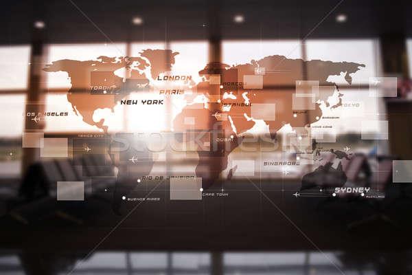 Absztrakt üzlet interfész légi közlekedés repülőgépek világtérkép Stock fotó © alexaldo