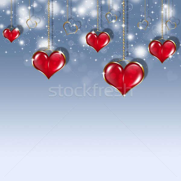 休日 バレンタイン 心 暗い 青 ストックフォト © alexaldo
